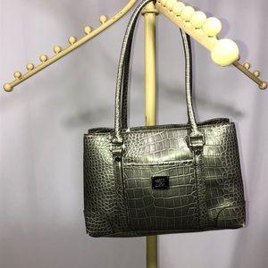 Liz Claiborne silver embossed satchel purse NWOT